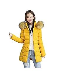 Pervobs Women Down Jackets Coat Elegant Hooded Slim Thick Parka Jacket Long Overcoat