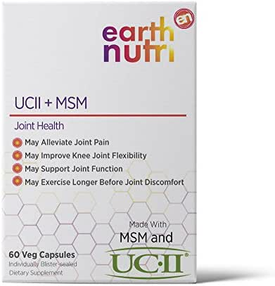 EarthNutri UC-II + MSM/Joint Health Supplement // 40mg UC-II Providing 10mg Total Collagen Including Undenatured Type II Collagen & 1000mg MSM with NO Additive Individually Blister Sealed