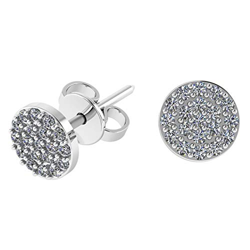 Sterling Silver Buttons - .925 Sterling Silver & Pavé-Set Cubic Zirconia Petite Stud Earrings - Round Button