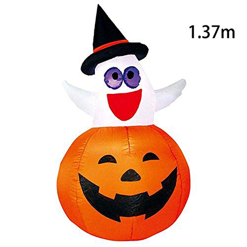 (Fairy-Margot Inflatable Halloween Decorations Airblown LED Lighted Ghost Tree Pumpkins Archway Turkey Thanksgiving Spider Witch Hat for Sale,Ghost)