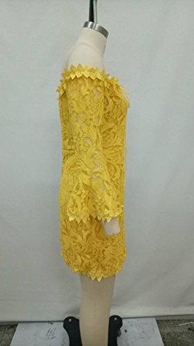 96dcffe62d6d Pizzo Maniche Vestito Abbigliamento Abito Bretelle Schienale Donna Abiti  Lunghe Senza Giallo Eleganti Tubino Primaverile Bandeau ...