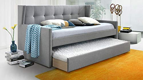 (Grey Fabric Twin Daybed with Trundle)