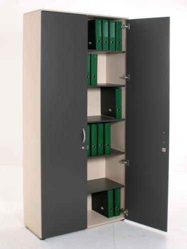 Armario 6oh, 218 x 100 cm, arce, anthrazite puertas correderas, suelos regulable en altura: Amazon.es: Oficina y papelería