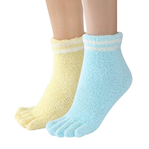 Skola Colorful Stripe Design Thick Super Soft Fuzzy Cozy Toe Home Socks 2 Pack Winter Warm Crew Socks For Women (Winter Socks Toe)