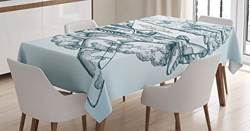 Ambesonne Airplane Decor Tablecloth by, Plane in the Sky Round Icon Vintage Plane in mid-air Military Cloud Aerospace Drawing Effect, Dining Room Kitchen Rectangular Table Cover, 60 X 90 Inches