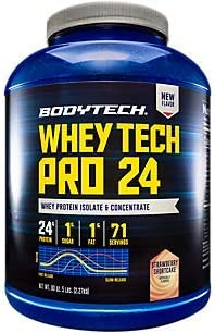 BodyTech Whey Tech Pro 24 Protein Powder Protein Enzyme Blend with BCAA s to Fuel Muscle Growth Recovery, Ideal for PostWorkout Muscle Building Strawberry Shortcake 5 Pound
