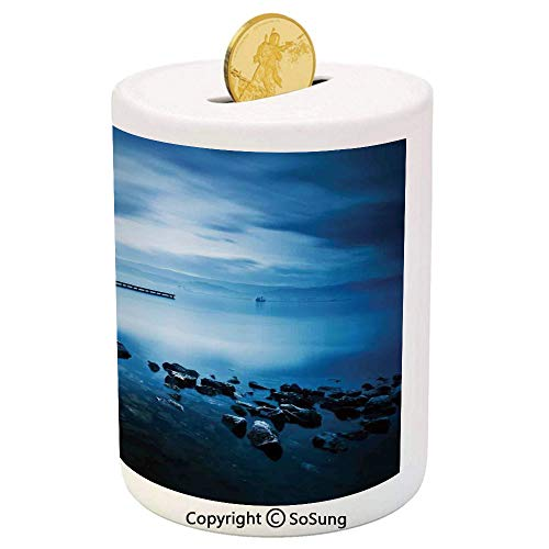 (SoSung Seascape Ceramic Piggy Bank,Seaside Rocks Curvy Jetty at Dawn Dreamy Panoramic Majestic Aquatic View Print 3D Printed Ceramic Coin Bank Money Box for Kids & Adults,Navy Blue)