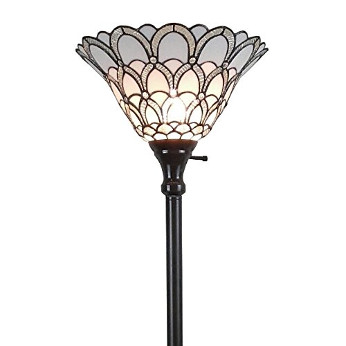 (Amora Lighting AM071FL14 Tiffany-Style Jewel Floor Torchiere Lamp White, 14