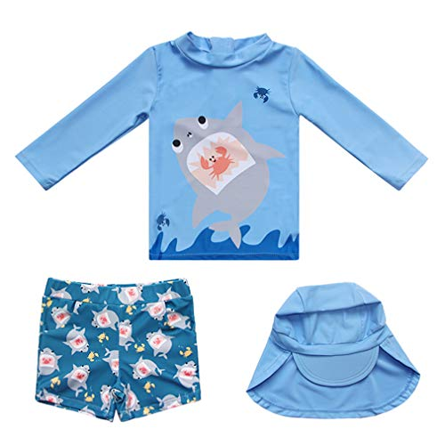 Baby Boys Swimsuit UV Sun Protection Three Pieces Rash Guard Swimsuit with Hat UPF 50+ Shark-1 3T ()