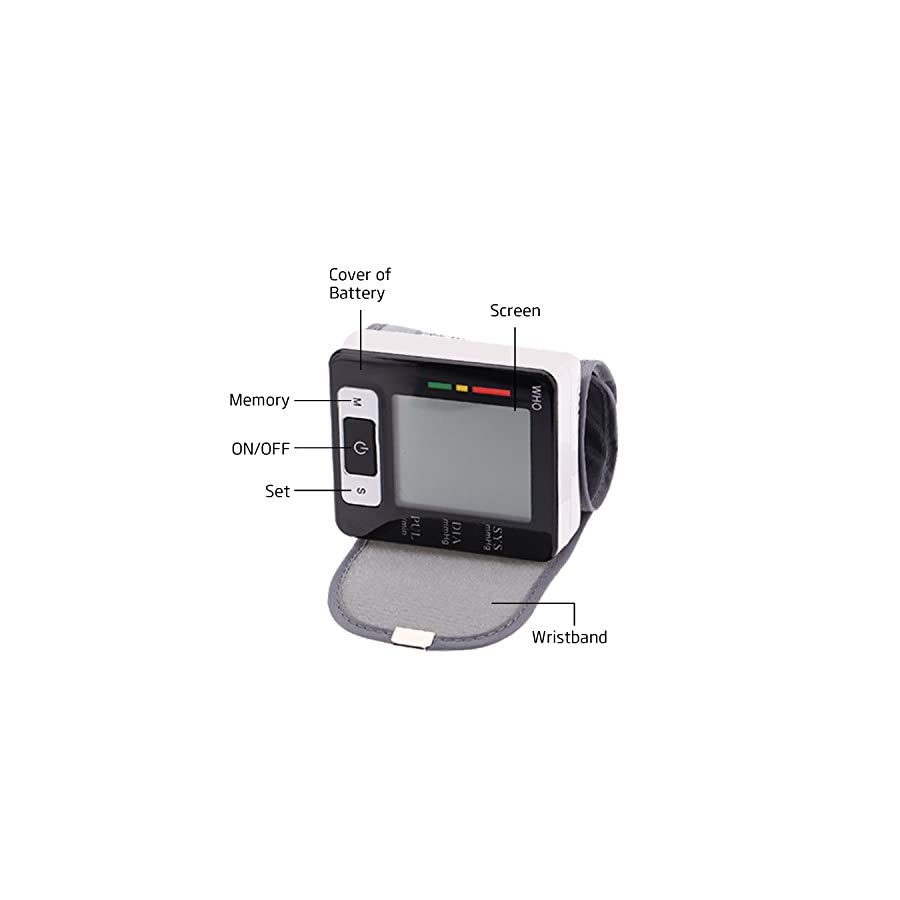 YDP SPORT Automatic LCD Digital Wrist Monitor with Heart Rate with Case, Two User Modes, sphygmomanometer Digital Blood Pressure Monitor IHB Indicator