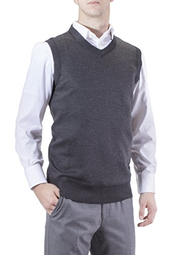 99da38fad3f657 Galleon - J.Korn Men's Solid Color V-Neck Sweater Vest SVS50 (Small  Charcoal Gray)