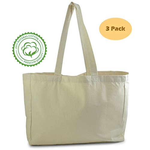 Natural Cotton Plain Canvas Tote Bag (3 Pack) perfect for kids Halloween decorations, grocery shopping, craft projects, reusable blank totes - extra thick, large, durable,100% cotton cloth tote ()