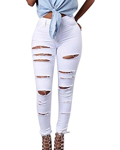Jeans Pantalones Slim Pencil Mujeres Blanco Ripped Rodilla Vaqueros Largos Pantalones Corte B0YBPqCwz