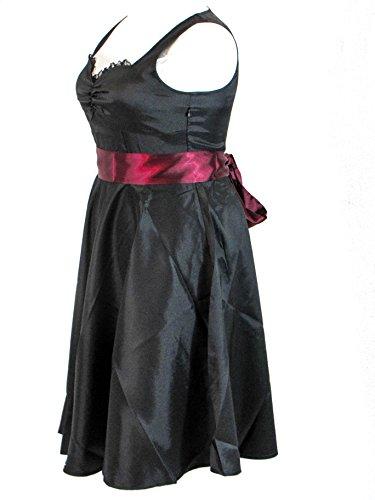 Taille Plus Satin Noir Et Rétro Dentelle Ruban Rouge Rockabilly Robe De 50