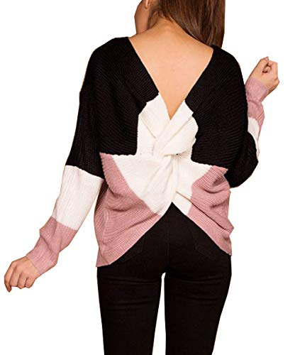 Doris Women's Sexy V Neck Criss Cross Back Long Batwing Sleeve Loose Knitted Sweater Pullovers (Free size, Colorblock-black)