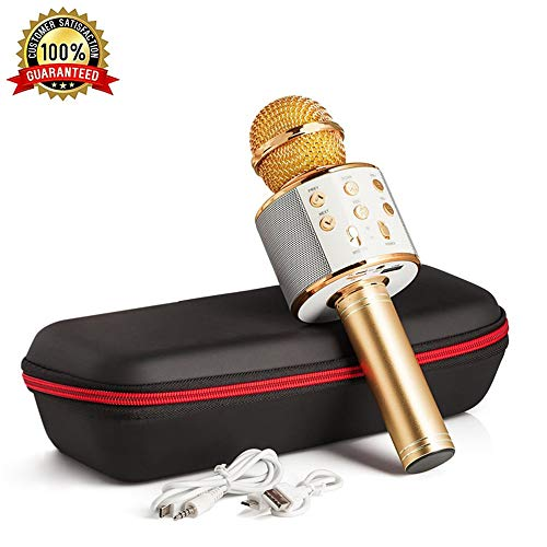 Karaoke Microphone Wireless With Bluetooth Speaker - Instagram 5000+Likes iPhone Android PC Smartphone Portable Handheld Microphone for Singing Recording Interviews or Kids Home KTV Party (Golden) ()
