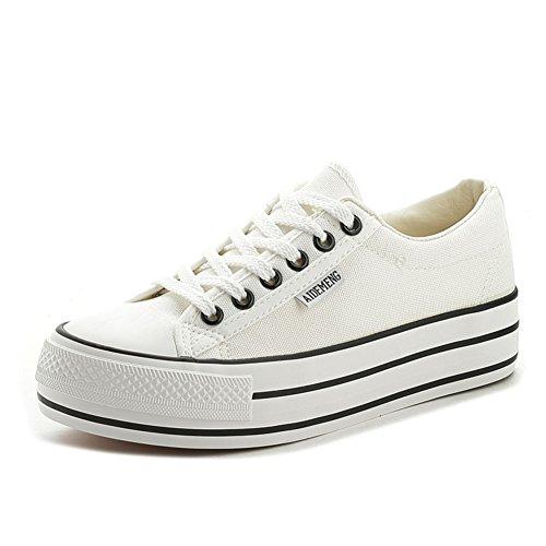 Verano de fondo pesados ??zapatos de lona/Bajo para ayudar a los zapatos de plataforma del cordón de los deportes A