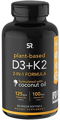Vitamin K2 + D3 with Organic Virgin Coconut Oil | Vegan D3 (5000iu) with MK7 Vitamin K2 (100mcg) from Chickpea | Non-GMO & Vegan Certified
