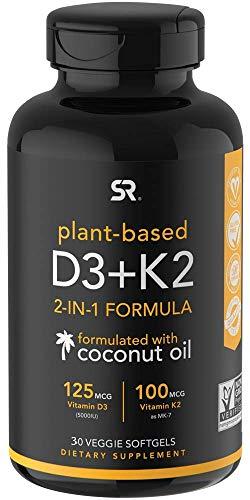Vitamin K2 + D3 with Organic Virgin Coconut Oil | Vegan D3 (5000iu) with MK7 Vitamin K2 (100mcg) from Chickpea | Non-GMO & Vegan Certified