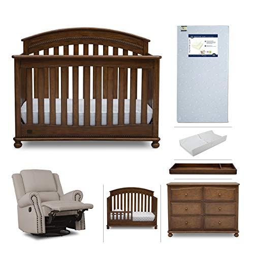 Baby Furniture Set – 7-Piece Nursery Furniture  Simmons Kids Aden   Convertible Crib, Dresser, Glider Recliner, Crib Mattress,Toddler Rail, Changing Top, Changing Pad, Antique Chestnut Brown/Flax