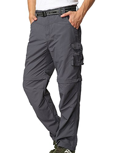 Men's Outdoor Anytime Quick Dry Convertible Lightweight Hiking Fishing Zip Off Cargo Work Pant M885 Gray,42