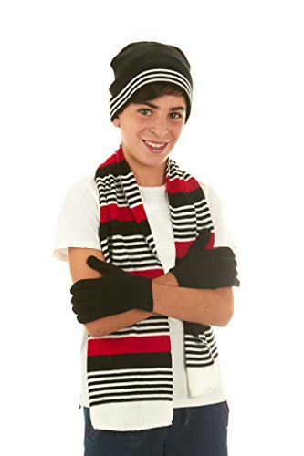 Polar Wear Boys Knit Hat, Scarf And Gloves Set -Black/Red (1251) OS