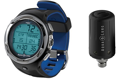 Aqua Lung i450t Hoseless Air Integrated Wrist Watch Dive Computer w/ Transmitter and USB, Blue