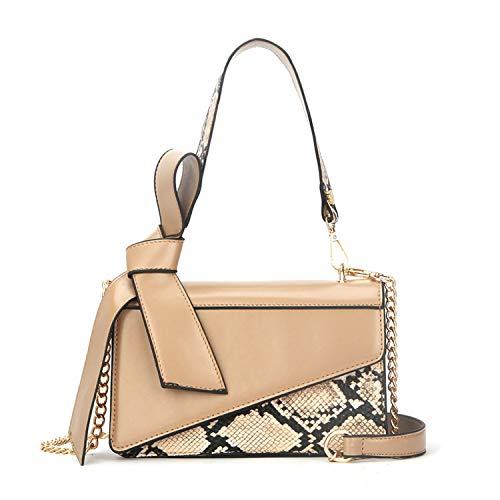 Women's mini Snake Print Leather Bow Shoulder Bag handbags White Camel Crossbody Tote ()