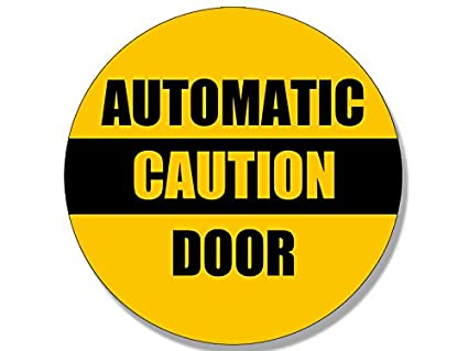 Amazon Com American Vinyl Round Caution Automatic Door Sticker