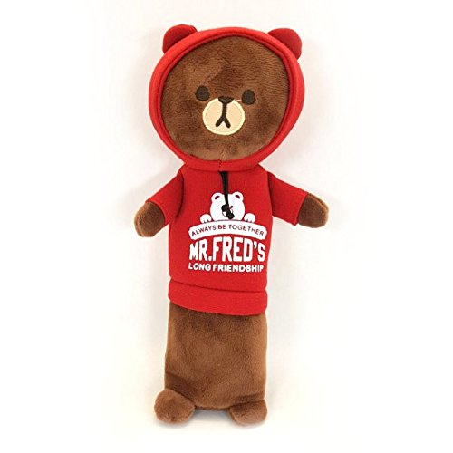Hoody Case (Mr. Fred's Cute Brown Bear Pencil Case Wearing Hoodie Rag Doll Cosmetic Pouch Cute Stationery School Pouch Bag -10.6 inch - Red)