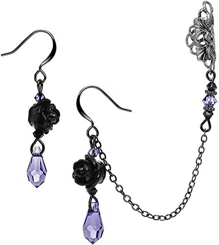 Body Candy Handcrafted Purple Accent Black Rose Earring Chain Cuff Created with Swarovski Crystals