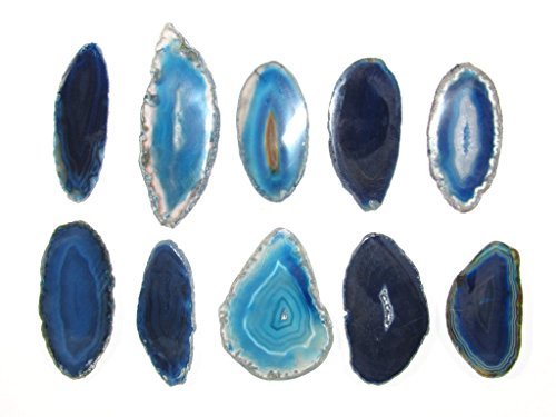 Zentron Crystal Collection: Set of 12 Blue Polished Light Table Agate Slices in Velvet Bag (Slice White Agate)