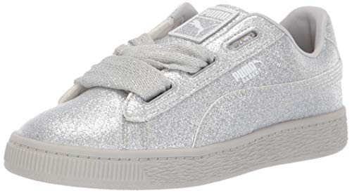 PUMA Baby Basket Heart Patent Kids Sneaker Silver-Gray Violet 8 M US Toddler (Patent Leather Stripe)