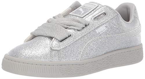 (PUMA Baby Basket Heart Patent Kids Sneaker Silver-Gray Violet 8 M US Toddler)