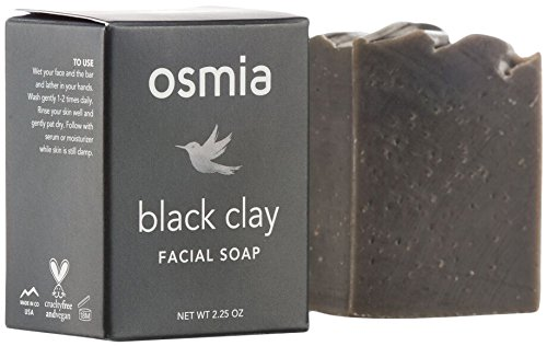 Osmia Organics Black Clay Facial Soap - Black Australian Clay, Dead Sea Mud & Coconut Milk Cleansing Bar for Face, Perfect for Normal, Problem & Combination Skin (2.25 oz) Almond Organic Bar Soap