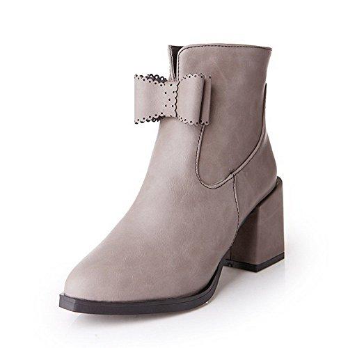 Tacones Blend AgooLar mujer gris para Botas Materials altos cerrada con Bowk de punta x1w4S0zqp