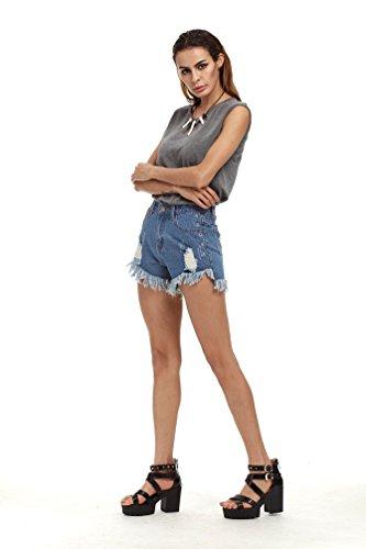 Dexinx Skinny Del Afflitti Signore Di Denim Hotpants Pants Ripped Jeans Popolare Estate Bicchierini Blu Elastico RnRapqr