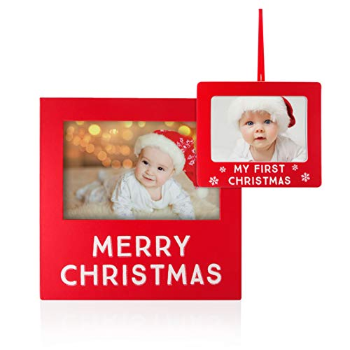 Tiny Ideas Matching Frame and Photo Ornament Set, Merry Christmas Frame, and Baby's My First Christmas Ornament, Holiday Keepsake Set -