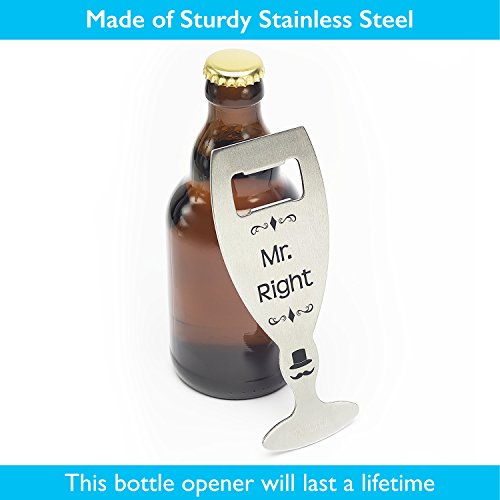 Gift for Couples - Mr. Right and Mrs. Always Right, Novelty Stainless Steel Beer Bottle Opener by CAPLORD, Comes with Gift Box and Greeting Sticker - Funny Wedding Present
