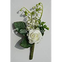 Stunning Ivory Rose Buttonhole with Ivory Lily of the Valley