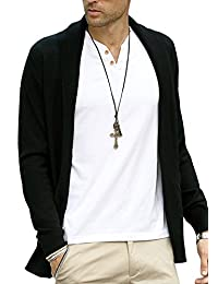 DOOXIUNDI Mens Casual Slim Fit Knit Cardigan with Double Shawl Collar