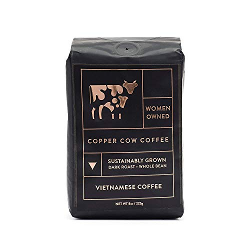 Copper Cow Vietnamese Whole Bean Coffee - Dark Espresso Roast - 100% Ethically Sourced & Sustainably Grown (8 oz Bag)