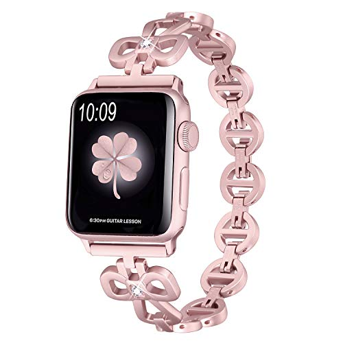 Secbolt Stainless Steel Bands Compatible Apple Watch Band 38mm 40mm iWatch Series 4, Series 3, Series 2, Series 1, Shamrock Link with Diamond Women Girls, Rose Gold