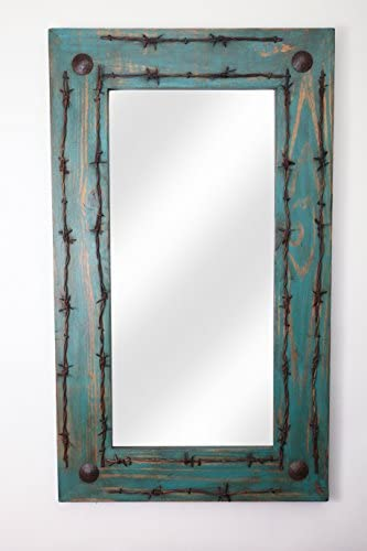 Rustic Mirror Turquoise Old Ranch Barbed Wire