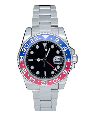 PHYLIDA Mens GMT Silver Stainless Steel Sapphire Glass red and Blue Rotating Bezel Men's Automatic Watch