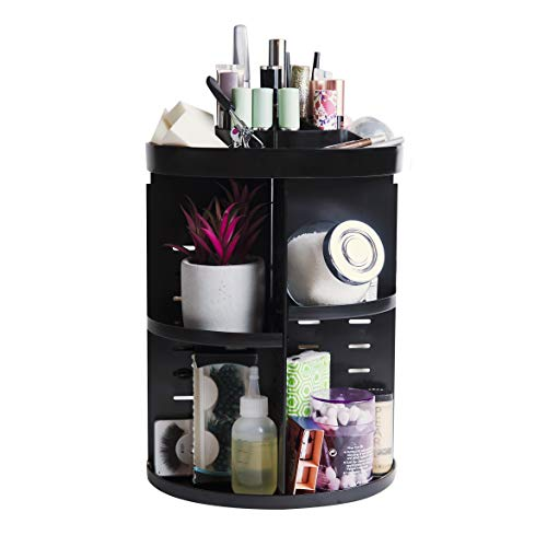 TidyFair Makeup Storage Organizer Caddy Adjustable Vanity Shelf and Table - Fits Jewelry Beauty Products - Rotating Cabinet Timesaver Table Bedroom Closet Kitchen Bathroom Counter Desk - Black