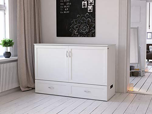 (Atlantic Furniture AC624142 Hamilton Murphy Bed Chest with Charging Station & Mattress, Queen,)