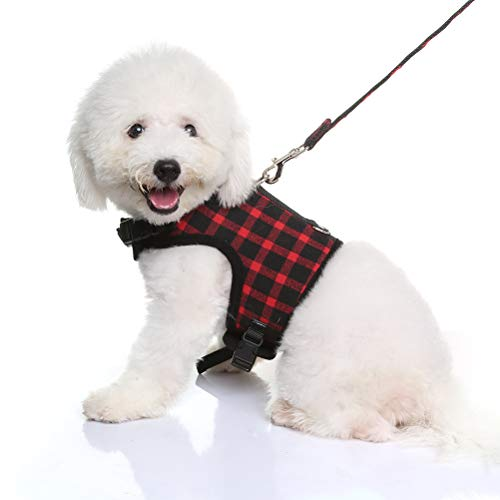 KOOLTAIL Plaid Puppy Harness and Leash Set Adjustable Dog Vest Medium for Outdoor Walking Black & Red