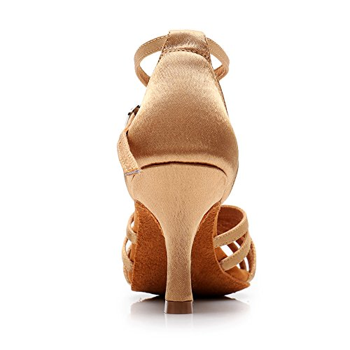 213 Shoes Performance Shoes LP Women 75inch Dance 2 Salsa Latin Satin Dance Ballroom Beige Heels HROYL xPwHzq0q