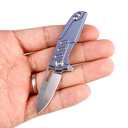 Fluted Mini Pendant - Samior FDT15 Mini Folding Pocket Flipper Neck Knife, 1.45